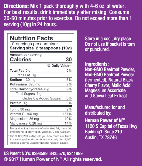 Nutrition facts for BeetElite